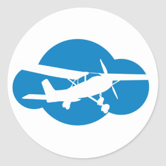 Blue Cloud & Aviation Plane Round Sticker