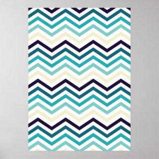 Blue Cream Zigzag Chevrons Poster