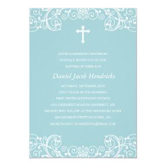 Blue Cross Boys Baptism/Christening Invitation