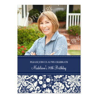 Blue Damask Photo 70th Birthday Party Invitations