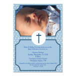 Blue Dots Baptism Baby Dedication 5x7 photo 13 Cm X 18 Cm Invitation Card