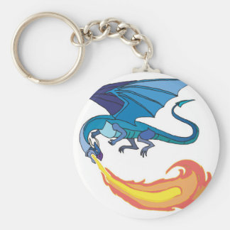 blue dragon breathing fire basic round button key ring