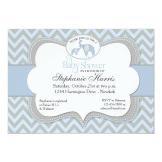 Blue Elephant Chevron Baby Shower Invitation