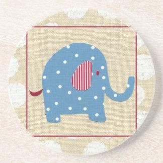 Blue Elephant with White Polka Dots Coaster