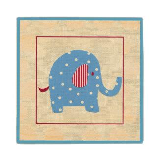Blue Elephant with White Polka Dots Maple Wood Coaster