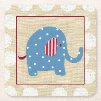 Blue Elephant with White Polka Dots Square Paper Coaster