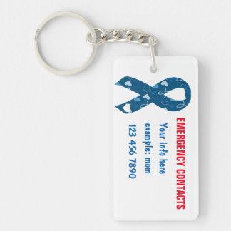 Blue Emergency Contacts/Illness/Meds Double-Sided Rectangular Acrylic Key Ring