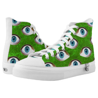 Blue Eyes - Green Background Printed Shoes
