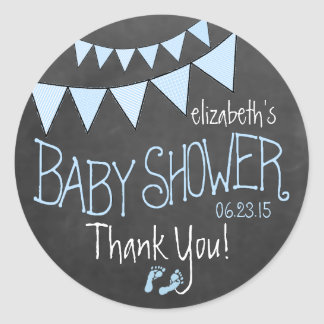 Blue Flag Bunting on Chalkboard Look Baby Shower Round Sticker