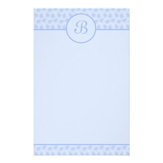 Blue Floral Monogram Initial Stationery