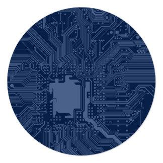 Blue Geek Motherboard Circuit Pattern 13 Cm X 13 Cm Square Invitation Card