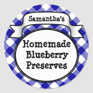 Blue Gingham Blueberry Jelly Jam Jar/Lid Label Round Sticker