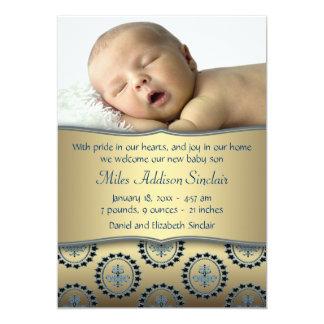 Blue Gold Boy Photo Birth Announcement