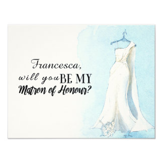 """Blue Gown """"Will you be my matron of honour"""" 11 Cm X 14 Cm Invitation Card"""