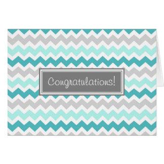 Blue Gray Chevron Congratulations New Baby Boy Greeting Card