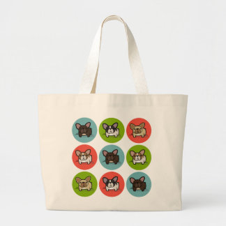 Blue, Green & Coral Frenchies Jumbo Tote Bag