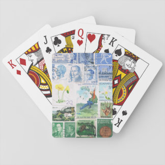 Blue Green Playing Cards, Parachute Postage Stamp Deck Of Cards