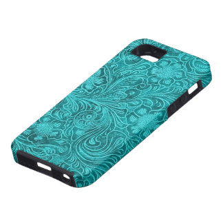 Blue-Green Suede Leather Look Retro Floral Design iPhone 5 Case