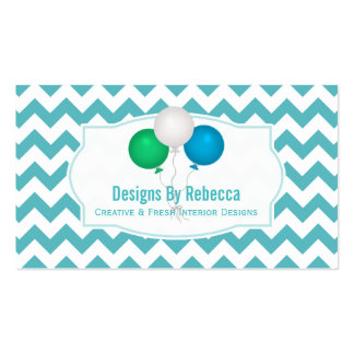 Blue, Green, White: Balloons Business Cards