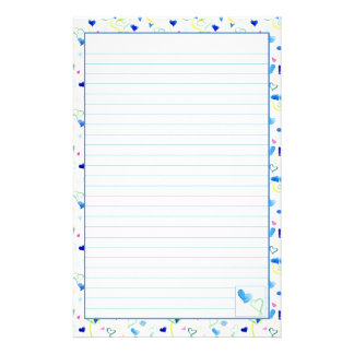 Blue Hearts Watercolor Lined Letter Writing Paper Personalised Stationery