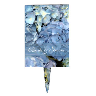 Blue Hydrangea Floral Wedding Cake Picks