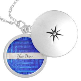 Blue idea round locket necklace