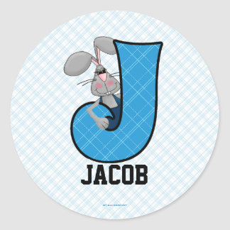 "Blue Jackrabbit Monogram ""J"" Personalized Stickers"