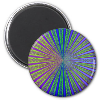 Blue Lime Green Purple Abstract Fractal Tunnel 6 Cm Round Magnet