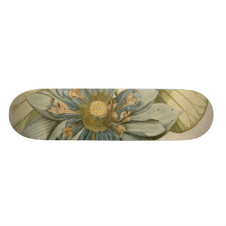 Blue Lotus Flower on Tan Background with Writing 20 Cm Skateboard Deck