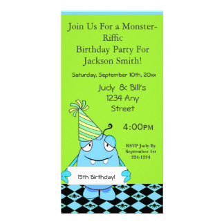 Blue Monster With Party Hat For Birthday Photo Card Template