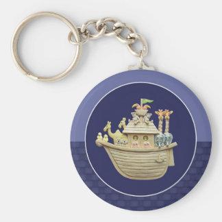Blue Noah's Ark Basic Round Button Key Ring