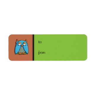 Blue Owl brown green small Gift Tag Label Return Address Label