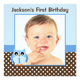 Blue Owl Brown Polka Dots 1st Birthday Boy Photo 13 Cm X 13 Cm Square Invitation Card