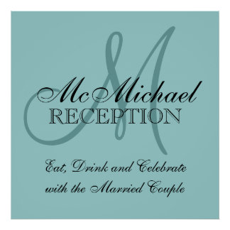Blue Personalized Wedding Reception Sign Poster
