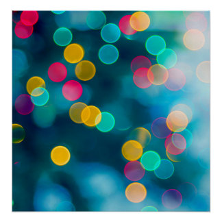 Blue, Pink & Yellow Abstract Lights Poster