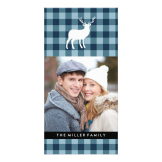 Blue Plaid and White Stag   Holiday Photo Greeting Card