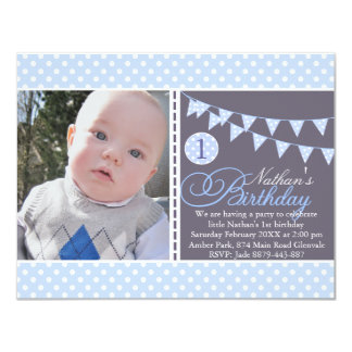 Blue Polka Dot Bunting First Birthday Invite