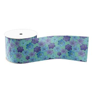 Blue Purple Spring Flowers with Custom Background Grosgrain Ribbon