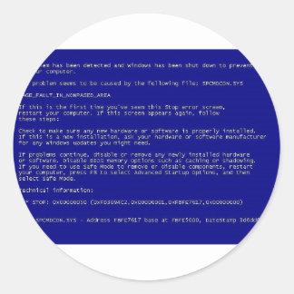 Blue Screen of Death Round Sticker