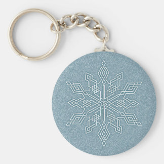 Blue Snowflake Knot Collection Basic Round Button Key Ring