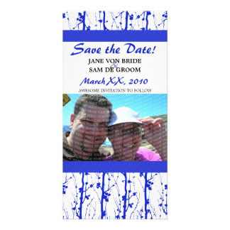 Blue Spring Blossoms Save The Date Personalised Photo Card