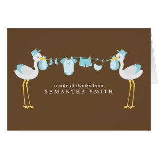 Blue Stork Boy Baby Shower Thank You Notes Note Card