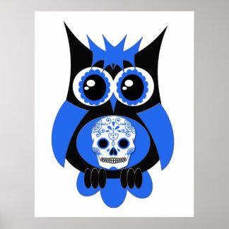 Blue Sugar Skull Owl Poster