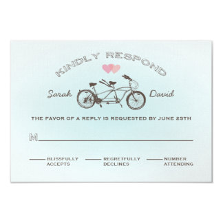 Blue Tandem Bicycle Wedding RSVP Card 9 Cm X 13 Cm Invitation Card
