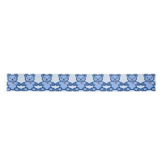 Blue teddy bear with heart satin ribbon