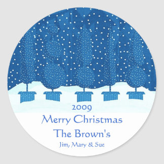 Blue Theme Merry Christmas Personalized Wine Label Round Sticker