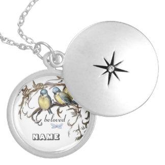 Blue tits Medaillion: .beloved. Round Locket Necklace