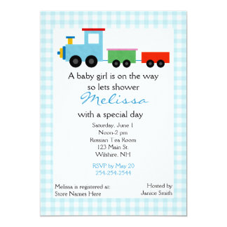 Blue Toy Train Baby Shower Invitation