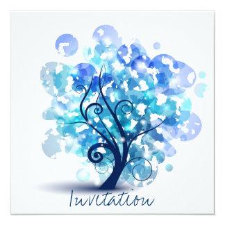 Blue Tree 13 Cm X 13 Cm Square Invitation Card