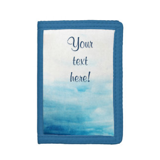 Blue watercolor background with sample text tri-fold wallet